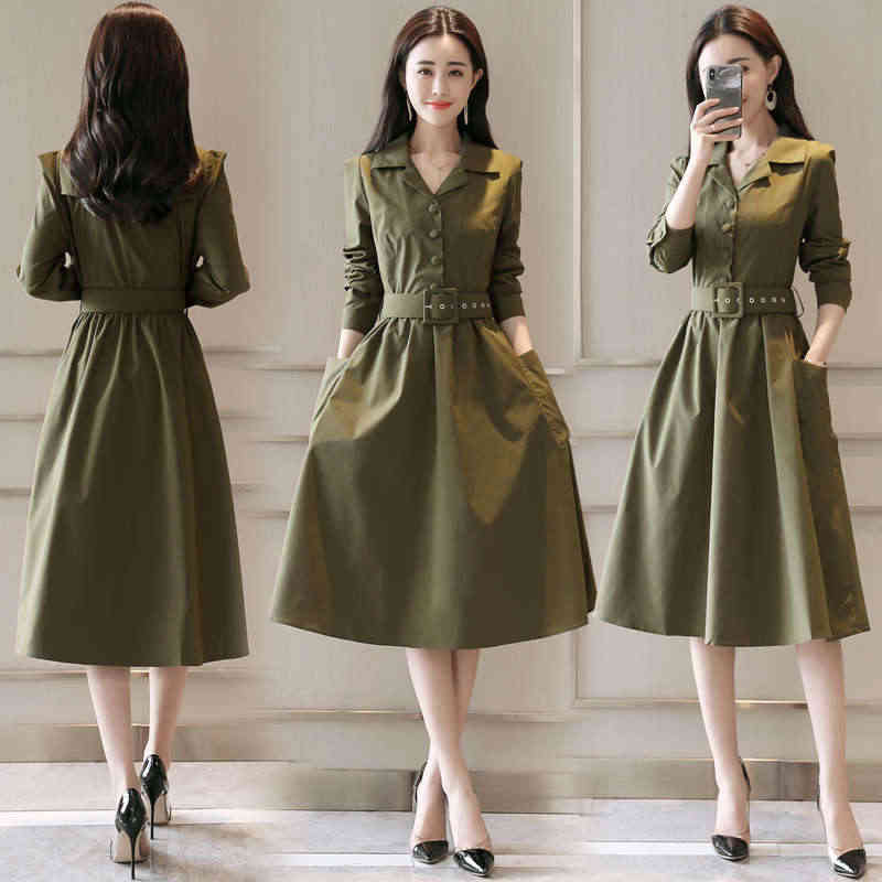 Z długim rękawem sukienka kobiety Jurken jesień nowa klapa długa sukienka koszulowa eleganckie kobiety odzież 2019 zieleń wojskowa panie biuro sukienka C4777