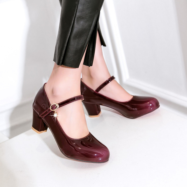 Women Shoes High Heels Concise And Elegant Black Wine Pink Ankle Strap Stilettos Buckle Strap Leather Shoes Plus Size 34-48