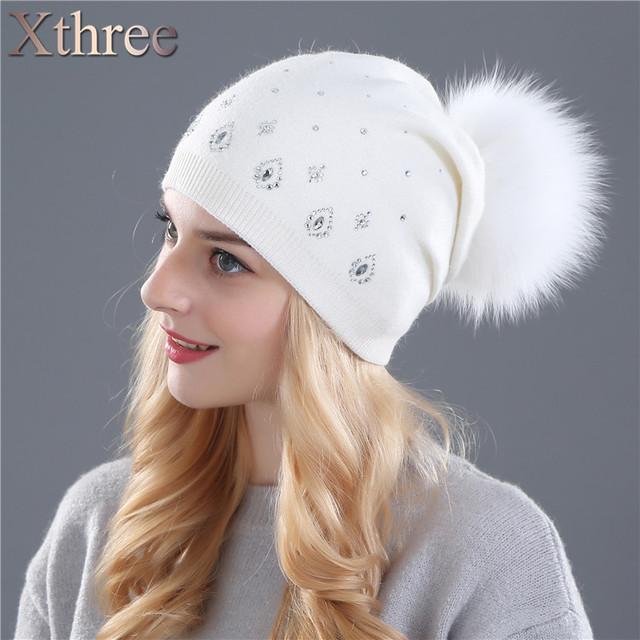 Xthree gorros chapéu do inverno das mulheres para as mulheres Brilhantes Strass pele de Coelho malha de lã chapéu feminino do vison pom pom chapéus
