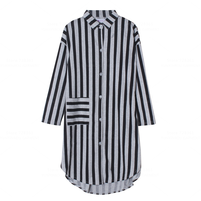 New 100% Cotton   Nightgown   Women Nightdress Mujer Sleepwear Loose Version   Nightgowns   Striped   Sleepshirts   Dress Lounge Clothing