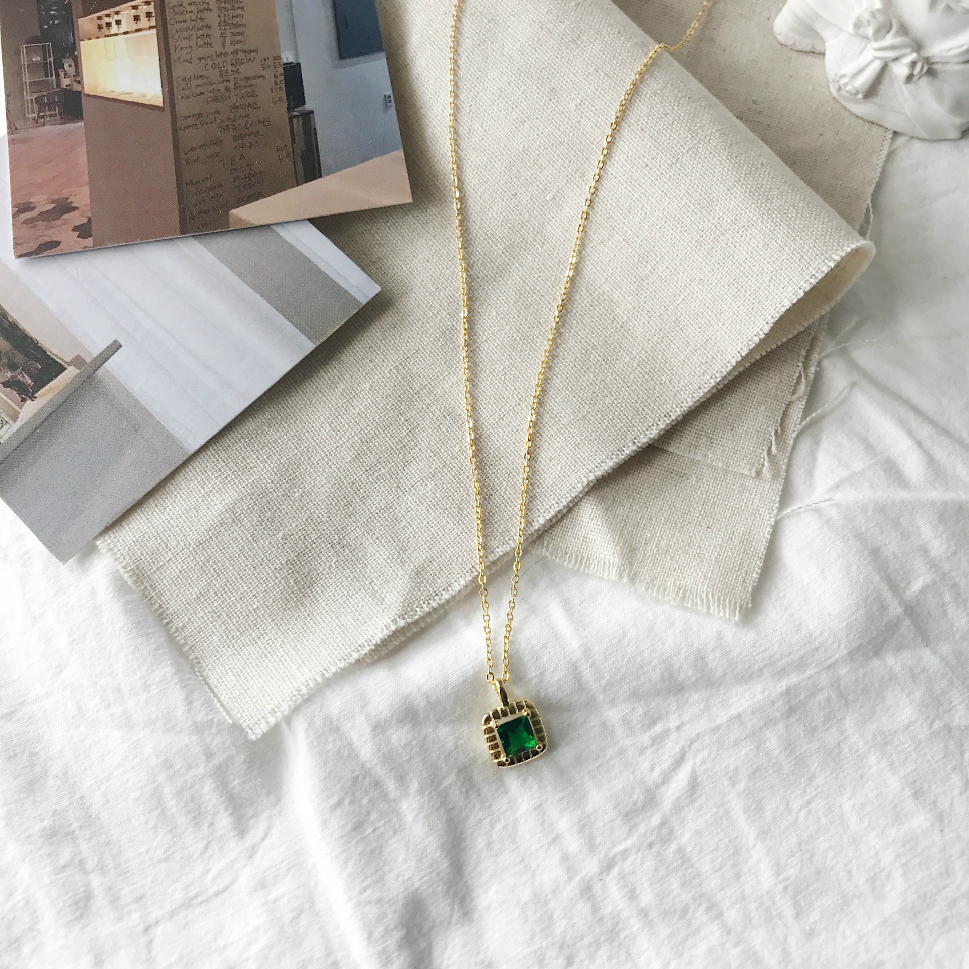 PANSYSEN Rose Gold Color Emerald Gemstone Necklaces for Women Solid 925 Sterling Silver Jewelry Pendant Nacklace Party Gift in Necklaces from Jewelry Accessories