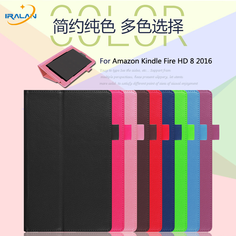 Hot Ultra Thin Filp tablet Case For Amazon Kindle Fire HD 8 2016 8.0 inch PU Leather Stand Book Cover+Stylus free shipping ultra thin smart flip pu leather cover for lenovo tab 2 a10 30 70f x30f x30m 10 1 tablet case screen protector stylus pen