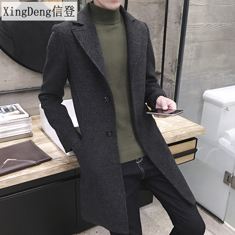 XingDeng Men Long Casual cotton top Coats warm Coat Lapel Collar Spring Autumn Men's Thick Wool   Trench   fashion Overcoat Plus 5XL