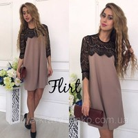 Azzpl New Arrival Autumn Style Dress Women Lace Half Sleeve Loose Mini Party Dress Solid Lace