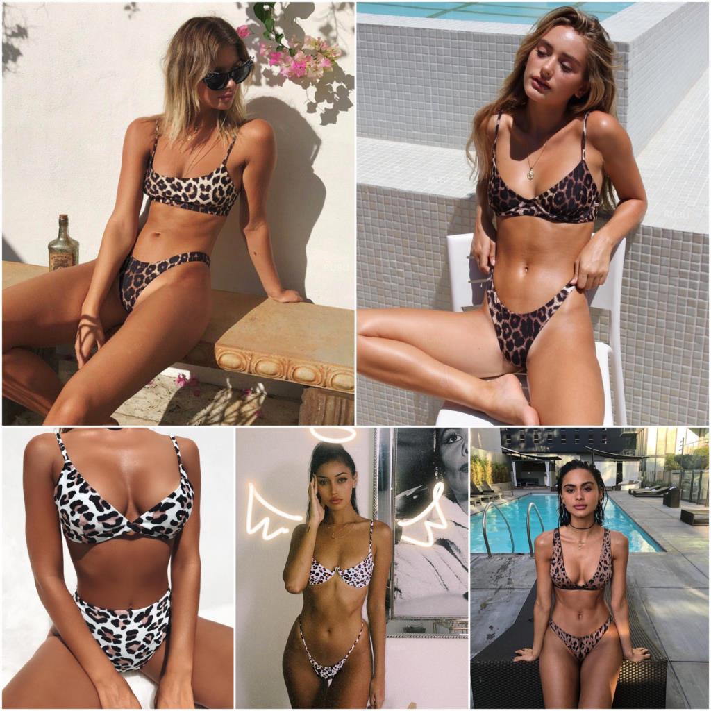 ביקיני 2018 Mujer Biquini מאיו דה ביין Femme לנשים סקסי הדפס מנומר בגד ים בגדי ים ביקיני לדחוף את