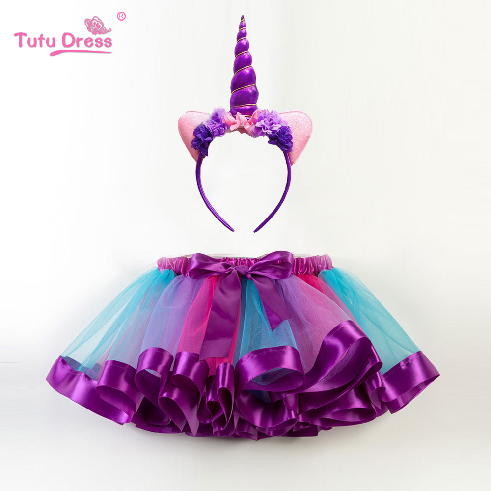 New Fashion Sweet Toddler Kids Baby Girls Clothes Tutu Skirt Outfits Unicorn Cute Children Tulle Skirt + headband Rainbow Skirt ywhuansen 2018 new rainbow cotton skirt sequin embroidery baby girl skirt cute rabbit princess kid clothes tutu skirt tulle pink