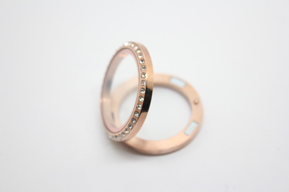 10pcs lot stainless steel rose gold 30mm crystal glass floating lockets magnetic memory floating lockets pendant