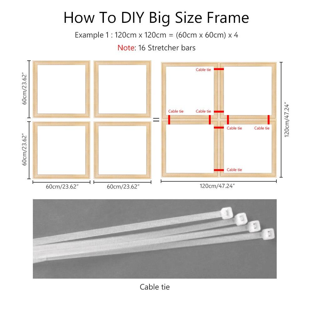 2 piezas de Marco elástico de lona respetuoso con el medio ambiente DIY kit de marco de madera sólida profesional para el aceite (un sistema de marco de lona necesita 4 piezas)