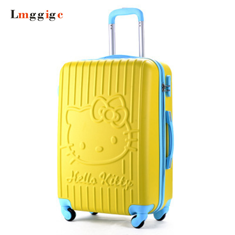 20 &24inch Hello Kitty Luggage Travel bag ,KT candy color Suitcase,ABS material traveling box ,Universal wheel Trolley