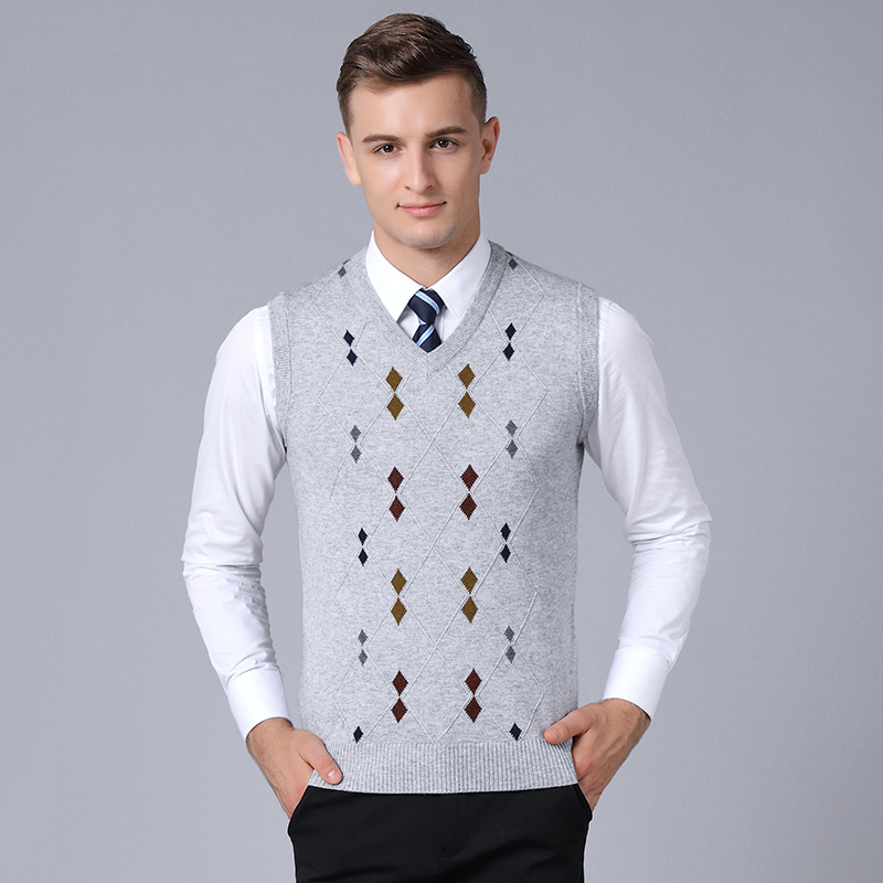 High Quality Male Autumn Argyle Wool Sweater Vest Mens Casual V-neck Fashion Plaid Cashmere Sweater Pullovers
