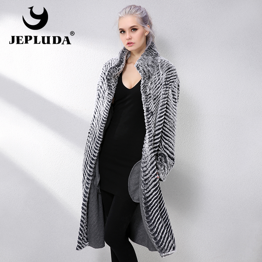 JEPLUDA New Real Fur Coat Double-sided Wool Blends Cloak Knitting Natural Real Rex Rabbit Fur Coat Genuine Leather Jacket Women