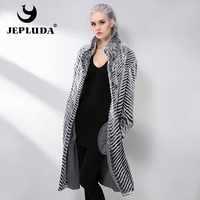 JEPLUDA New Real Fur Coat Double sided Wool Blends Cloak Knitting Natural Real Rex Rabbit Fur Coat Genuine Leather Jacket Women