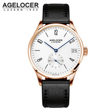 AGELCOER Antique Watch Wristwatch Men Top Brand Luxury Famous Male Clock Gold plated Dial Dive 50m