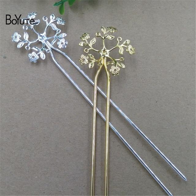 """BoYuTe מקל מתכת 120*2 מ""""מ 36 מ""""מ 5 יחידות פיליגרן פרח שיער אביזרי תכשיטי Diy עבור שיער מקל"""