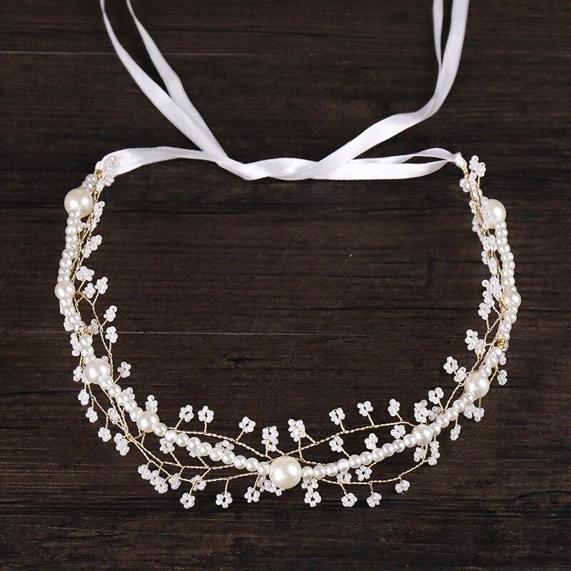 Wedding-Accessories Headbands Head-Jewelry Bead Hair-Ornaments Pearl for Bride Crown
