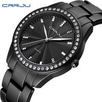CRRJU Women Watches Luxury Crystal Diamond Black Watches Woman Casual Modern Round Stainless Steel Bracelet Strap
