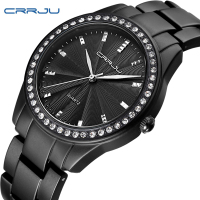CRRJU Women Watches Luxury Crystal Diamond Black Watches Woman Casual Modern Round Stainless Steel Bracelet Strap