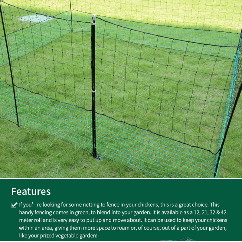 US $122 55 5% OFF|ZORASUN Electric Poultry Netting Chicken Net Sheep Goat  Netting Electric Fencing Easily Assembled Plastic Mesh Netting 12mx125cm-in