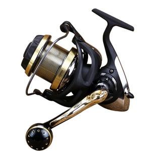 Image 3 - WOEN WF4000 9000 rueda de tiro largo grande 9BB + 1BB rodamientos de acero inoxidable taza de alambre rueda de pesca de metal Botón de doble sinergía. D2