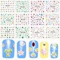 12 unids Nail Stickers Colorful Plantas Suculentas Flores Decoraciones Nail Art Tatuajes de Transferencia de Agua Deslizante DIY Herramientas A1225-1236