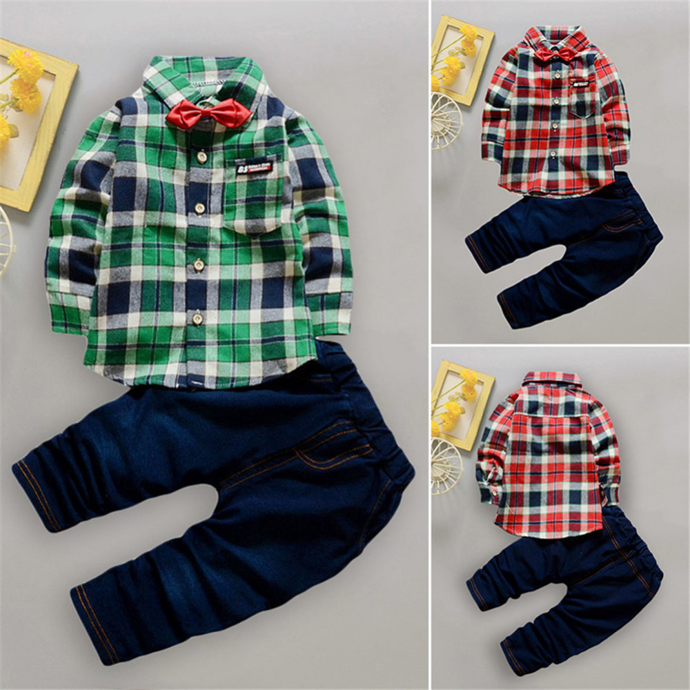 Fashion Baby Boy Gentleman Clothing sets Suit Newborn Baby Bow Tie Plaid Shirt +  jeans pants set Cotton baby clothes Outfits 2pcs set baby clothes set boy