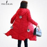 Pinky Is Black Winter Coat Women 2017 Hot Sale Long Parka Fashion Students Slim Female Clothing
