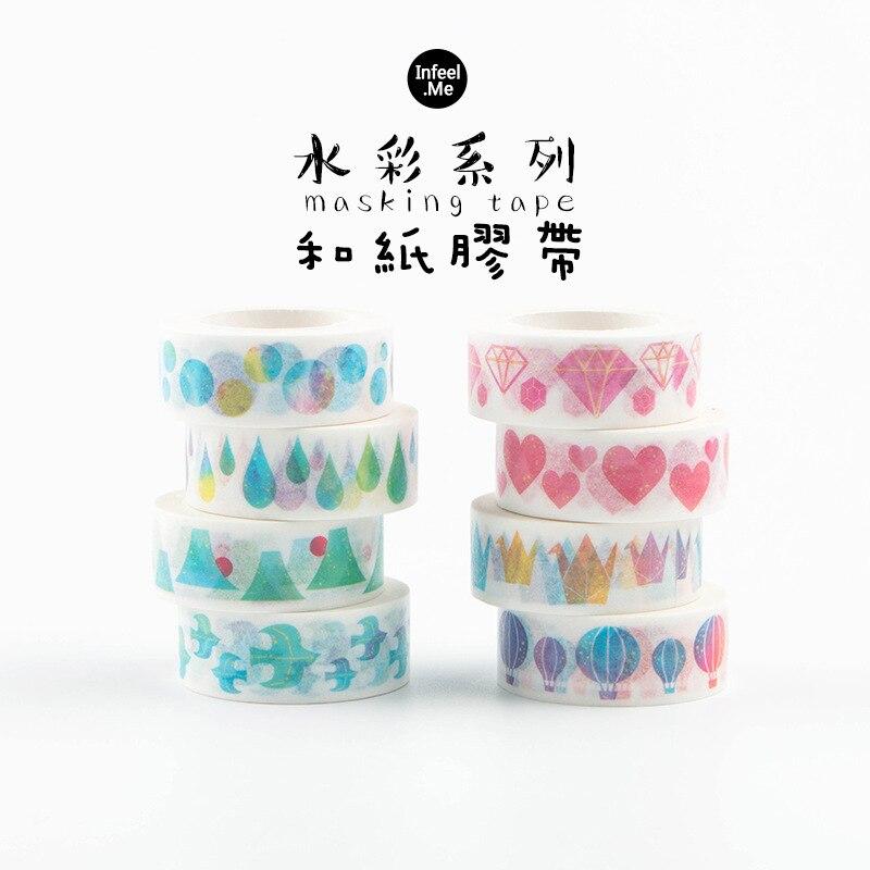 15mm Watercolor Heart Diamond Japanese Masking Washi Tape Decorative Adhesive Tape Diy Scrapbooking School Office Supply все цены