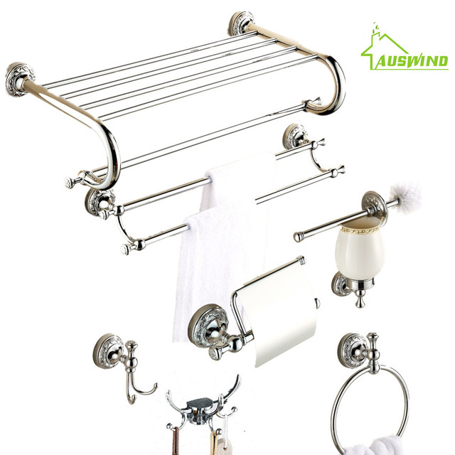 Europe Antique Bathroom Hardware Set Chrome Finish Carved Solid ...