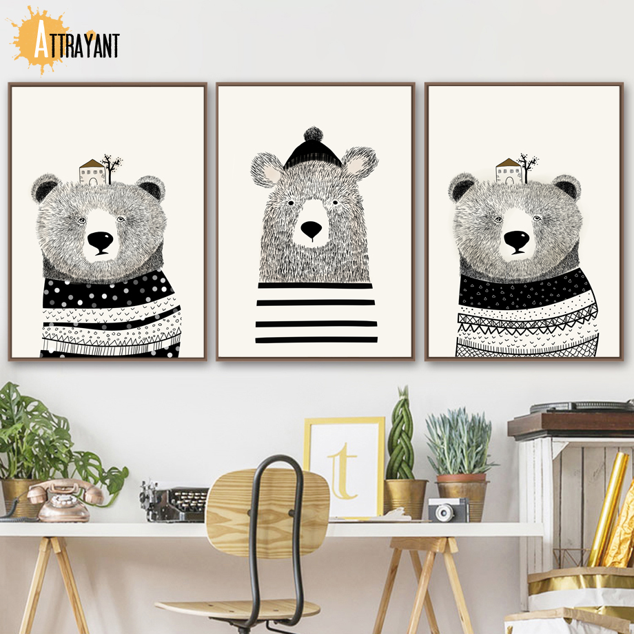 Us 3 36 52 offbear wall art canvas painting nordic posters and prints scandinavian animal wall pictures kids baby boy girl room nursery decor in