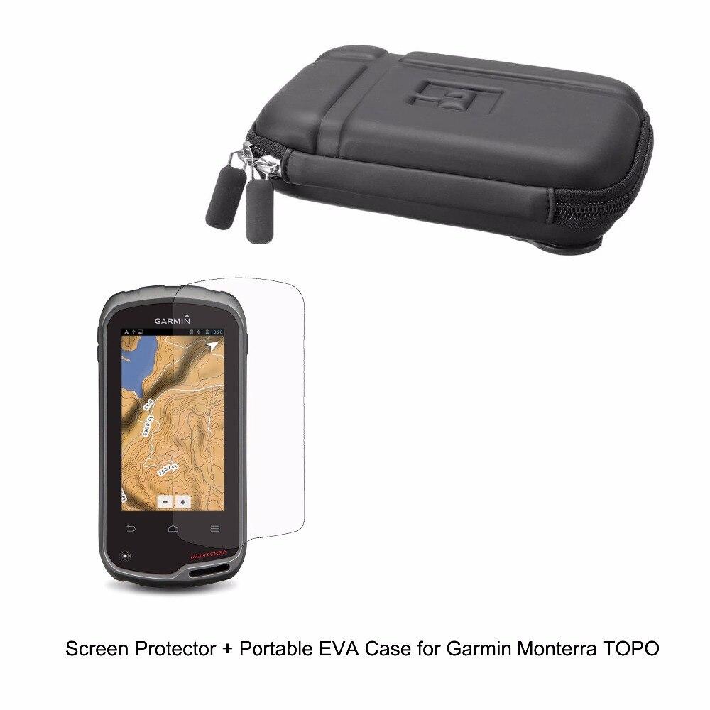 Vehicle Portable EVA Case Bag + Clear Screen Protector Shield Film for Garmin Monterra TOPO Handheld <font><b>GPS</b></font>
