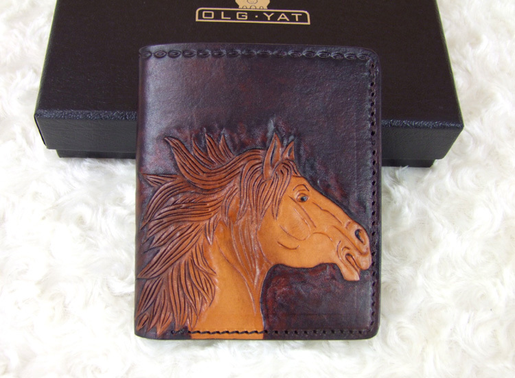 Hong Kong OLG.YAT 2015 New Zodiac Horse carved by hand Men's brief paragraph (vertical)purse/ wallet Italy  pure leather wallets робот zodiac ov3400