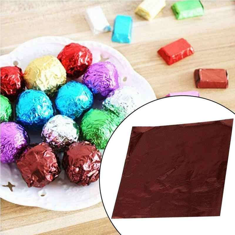 100pcs/pack Tinfoil Wrapping Paper Aluminum Foil Candy Chocolate Cookie Wrapping Tin Paper Party DIY Packaging Paper