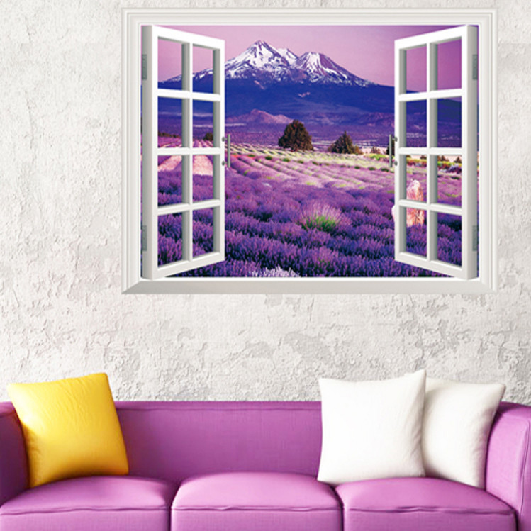 Purple Blossom Flower Mountain Lavender 3d Window View Wall Sticker Love Flora Provence Scenery Home Decor
