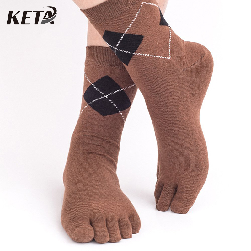 KETA Fashion Men Socks Cotton Breathable Five Finger Toe Socks Business Male Classic Plaid Striped Dress Socks 5Pairs/lot
