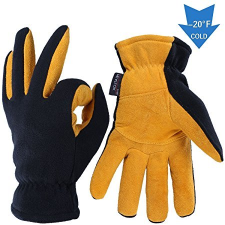 Winter Gloves, OZERO Cold Proof Thermal Glove   Deerskin Suede Leather Palm and Polar Fleece Back with Heatlok Insulated