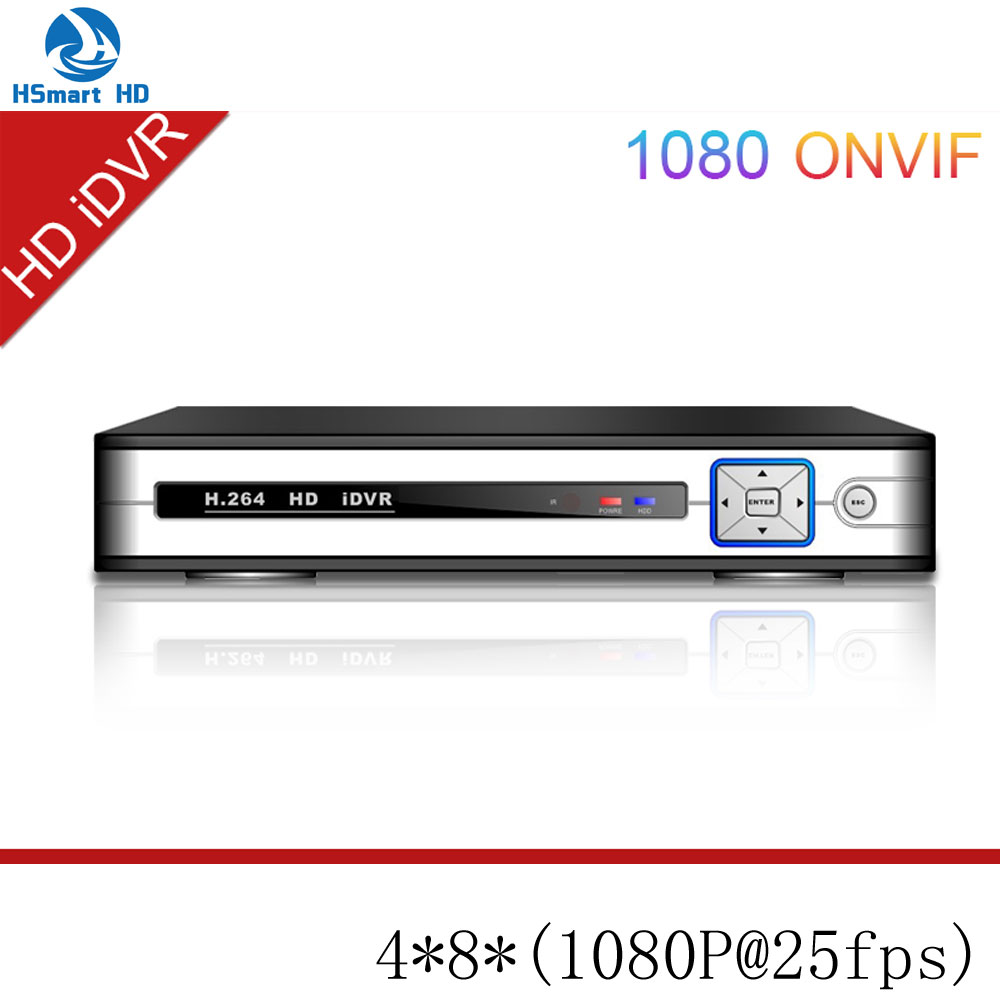 4 CH 1080P 8CH AHD HD iDVR (1080P@25fps) 6 in 1 DVR /TVR/AVR/ NVR Support ONVIF 8CH AHD Camera+8CH 1080P IPC Camera