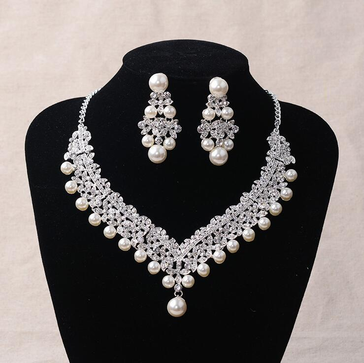 Fashion Pearl Wedding Bridal Jewelry Sets For Bride Women Pageant Prom Bijoux Necklace Earring Wedding Jewelry Accessories 6