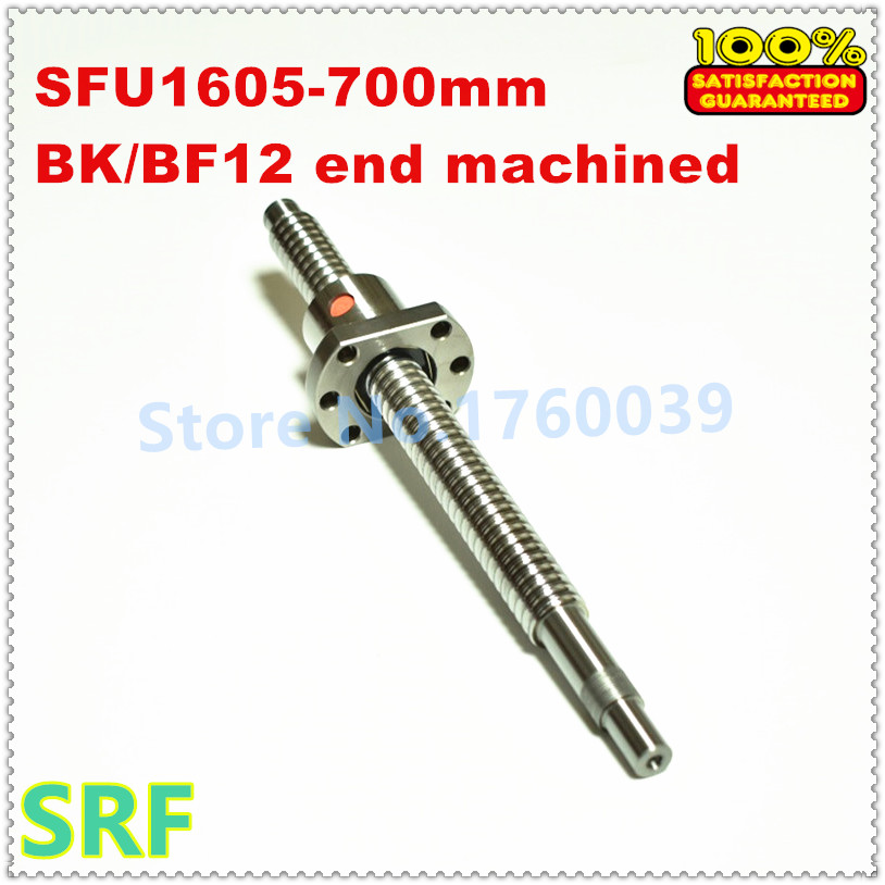 1pcs 16mm SFU1605 Rolled ball screw L=700mm with SFU1605 Ballscrew  single nut for CNC Part BK/BF12 standard end machined sfu1605 400mm ballscrew with ball screw nut for cnc part without end machined