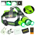 BORUiT-B22-8000LM XM-L2-2XXPE Green LED Headlamp Hunting Headlight Flashlight power by 2x18650 USB
