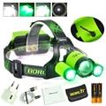 BORUiT-B22-8000LM XM-L2-2XXPE Green LED Headlamp Hunting Headlight Flashlight power by 2x18650 USB