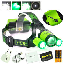 BORUiT-B22-8000LM XM-L2-2XXPE Green LED Headlamp Hunting Headlight Flashlight power by 2×18650 USB