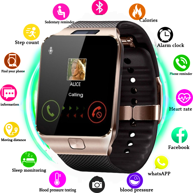 DZ09 Smartwatch Relógio Inteligente Apoio Câmera TF SIM Homens Mulheres Esporte relógio de Pulso Do Bluetooth para Samsung Huawei Xiaomi Android Phone