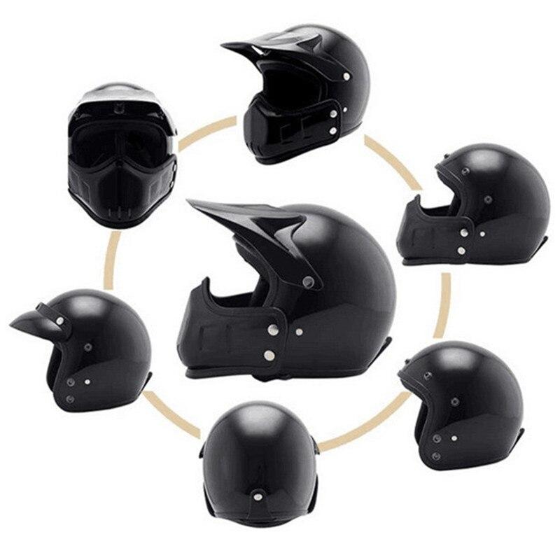 Motocross casco Maschera Staccabile Occhiali E la Bocca Filtro Perfetto per Aprire Viso Motociclo Casco Mezzo Vintage Caschi