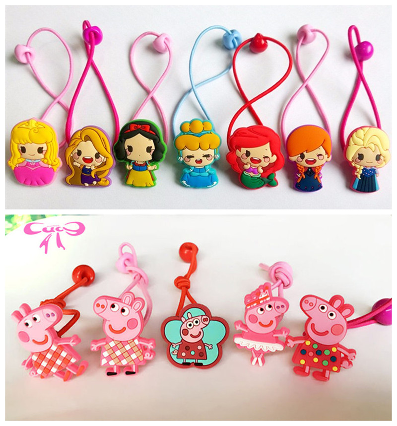 6/7 Pcs Pig Hair Accessories Snow White Sofia Anna Elsa Cinderella Princess Elastic Hair Bands Hair Ties Kid Gum for Hair -4 new novelty princess hair accessories elsa anna elastic hair bands flower hair rope lovely headwear party gifts for girls