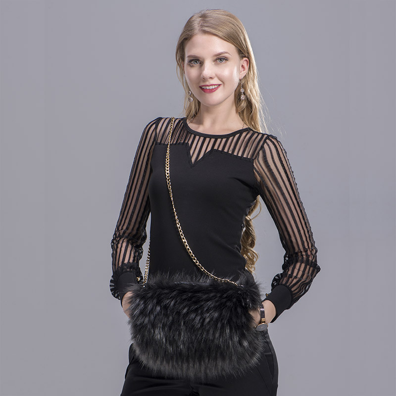 MS.MinShu Brand Winter Hand Muff Faux Fur Bag Muff Winter Mittens Fashion Woman Handmuff With Bag Hand Warmer