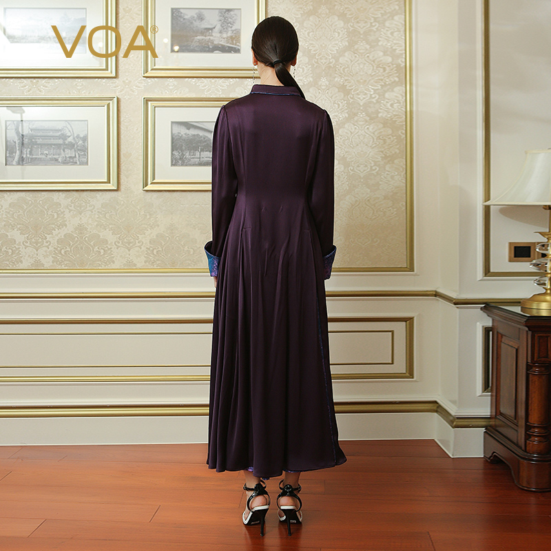 VOA Plus Size Purple Vintage Swing Dress Heavy Silk Women Slim Tunic Maxi Long Dresses Chinese Soft Stain Clothes Fall ALX15701 in Dresses from Women 39 s Clothing