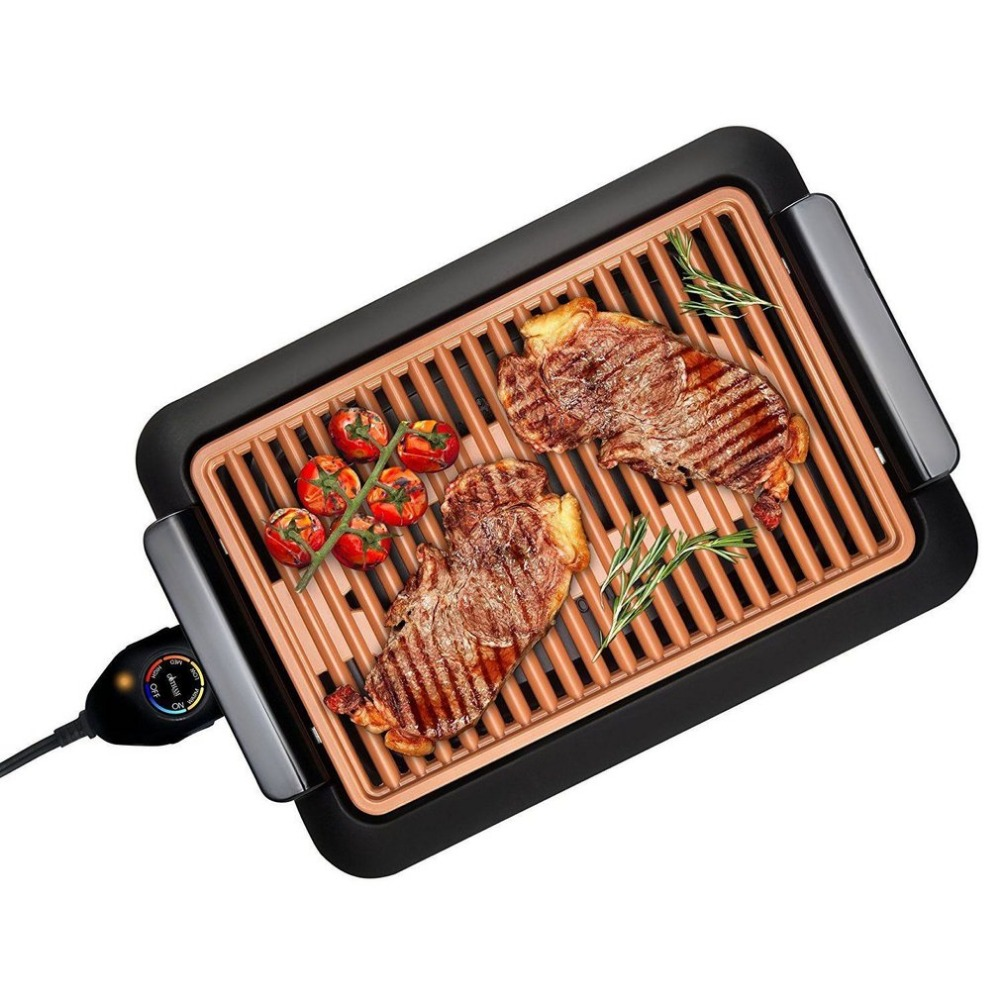 PREUP Electrothermal barbecue plate Fast BBQ Smokeless Grill With Temperature Dial Heated Grilling Grate Made of Ti-cerama