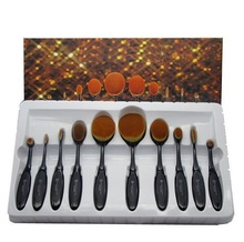 New Arrival10PC/Set Pro oval makeup brush Shaped Eyebrow Foundation Oval toothBrush Makeup Beauty Tools set