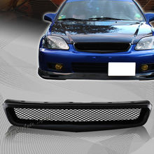 For 1999-2000 Honda Civic JDM Type R Black Mesh ABS Front Hood Grille Grill xyivyg 2006 2008 for dodge ram 1500 2500 3500 mesh style front hood grille glossy black abs