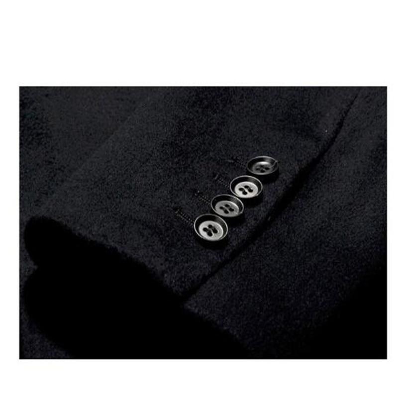 Мужское кашемировое пальто среднего возраста, мужской шерстяной Тренч с отложным воротником, однобортная шерстяная верхняя одежда, новинк... - 6